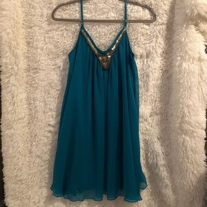 Express Tank Top Shift Dress in Teal
